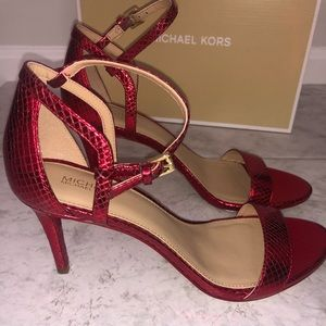 Micheal Kors Simone Mid Sandal Metallic Red